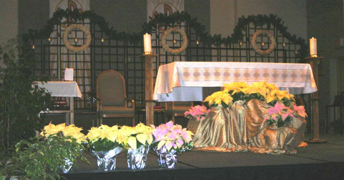 Ask your children: What did you like about Mass today? Image of an altar at Catholic Church, decorated for Christmas.