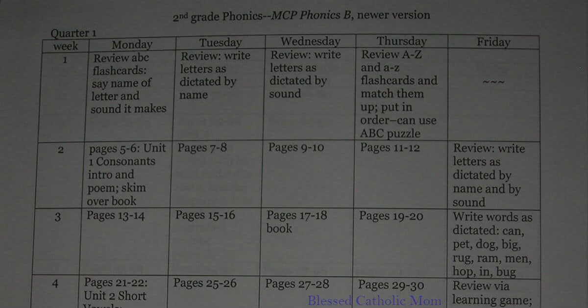 Organize your lesson plans for the homeschool year. Image of typed lesson plans for phonics.