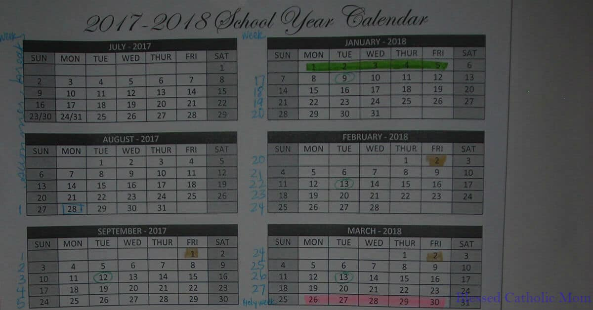 Plan out your school year before it starts. Image of a yearly school calendar on one sheet with certain dates highlighted.