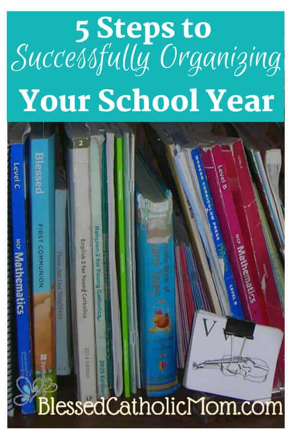 Follow 5 easy steps to organize your homeschool year. Image of a bookshelf full of books used for a homeschooled child.