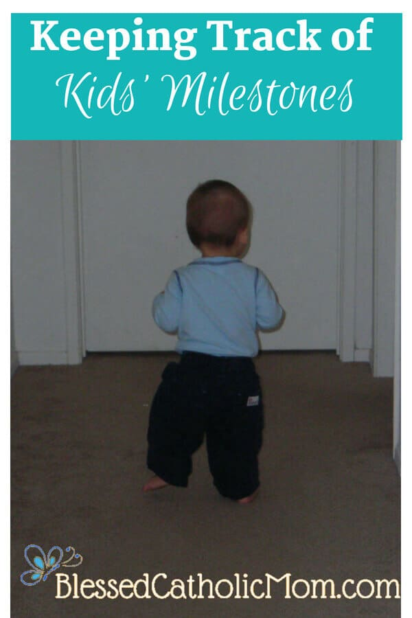Keeping track of kids' milestones does not have to be difficult. Image of a toddler boy walking in a hallway in a home.
