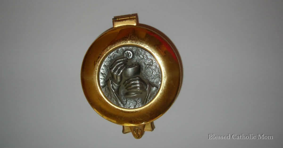 Am I trying now to be a saint? I can fully rely on God to help me. Receive the Sacraments frequently. Image of a gold pyx with silver relief of a priest's hands holding a chalice with a host above it.
