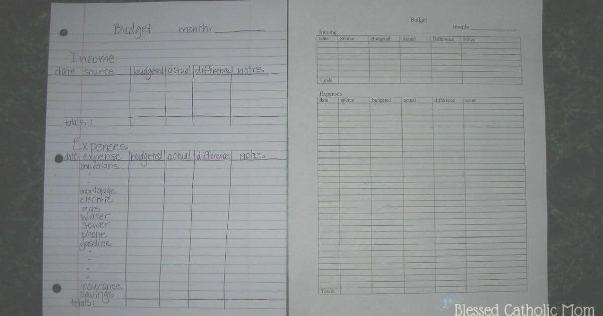 How to make a budget is easy. Follow these directions to make a budget chart to log and track your monthly expenses. Image of two budget charts; one is hand-drawn and the other is typed. They show space to log income and expenses.