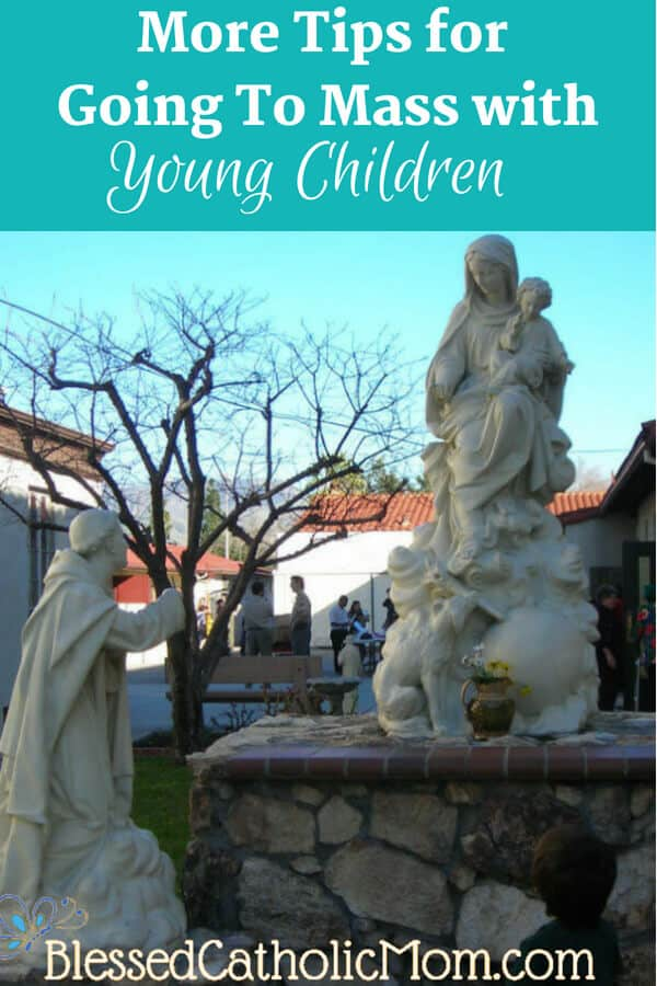 More Tips for Going To Mass with Young Children. Image of a boy standing before and looking at a statue of a saint before the Blessed Virgin Mary who is holding the child Jesus.
