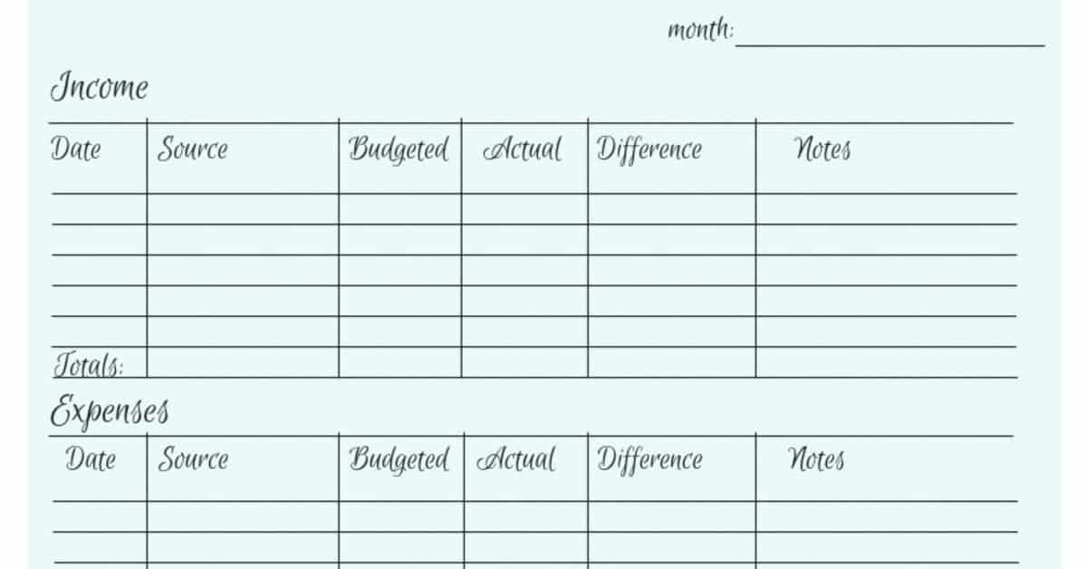 Image of a grid to log income and expenses.