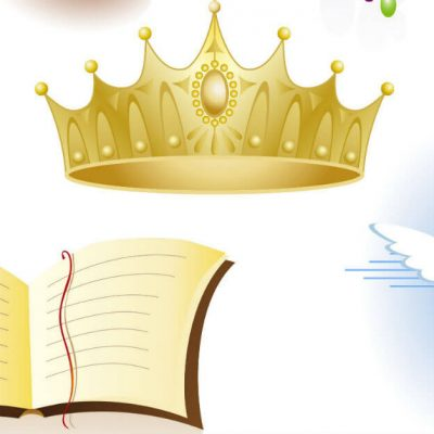 Graphic image of a crown, an open Bible, and a dove: symbols for God the Father, God the Son, and God the Holy Spirit.
