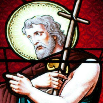 Image of a stained glass window of John the Baptist.