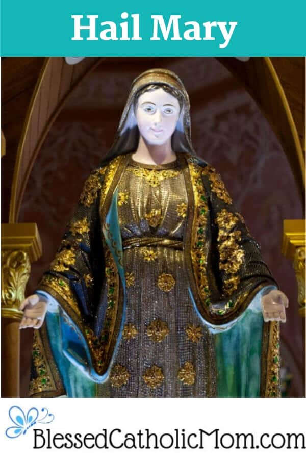 The Hail Mary prayer uses words from the Bible. When we pray it we echo the Archangel Gabriel's and Elizabeth's words. We also ask Mary to pray for us. Image of a statue of Mary in a church, her arms outstretched towards us.
