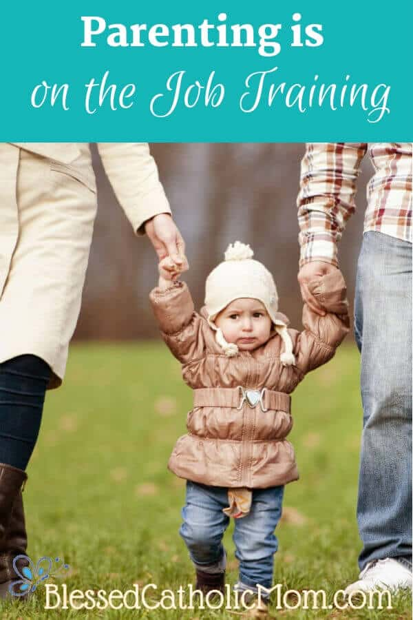 Parenting is on the job training. We trust that God gave our children to us for a reason. We can learn from each other and help each other grow. Image of a child walking between Mom and Dad, holding their hands.