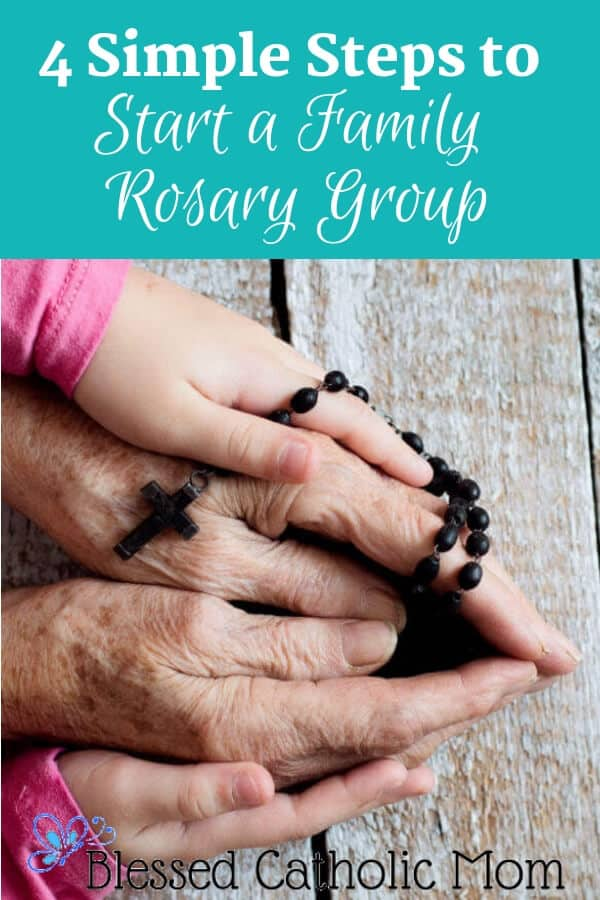 Image of two older and younger sets of hands together holding a Rosary.