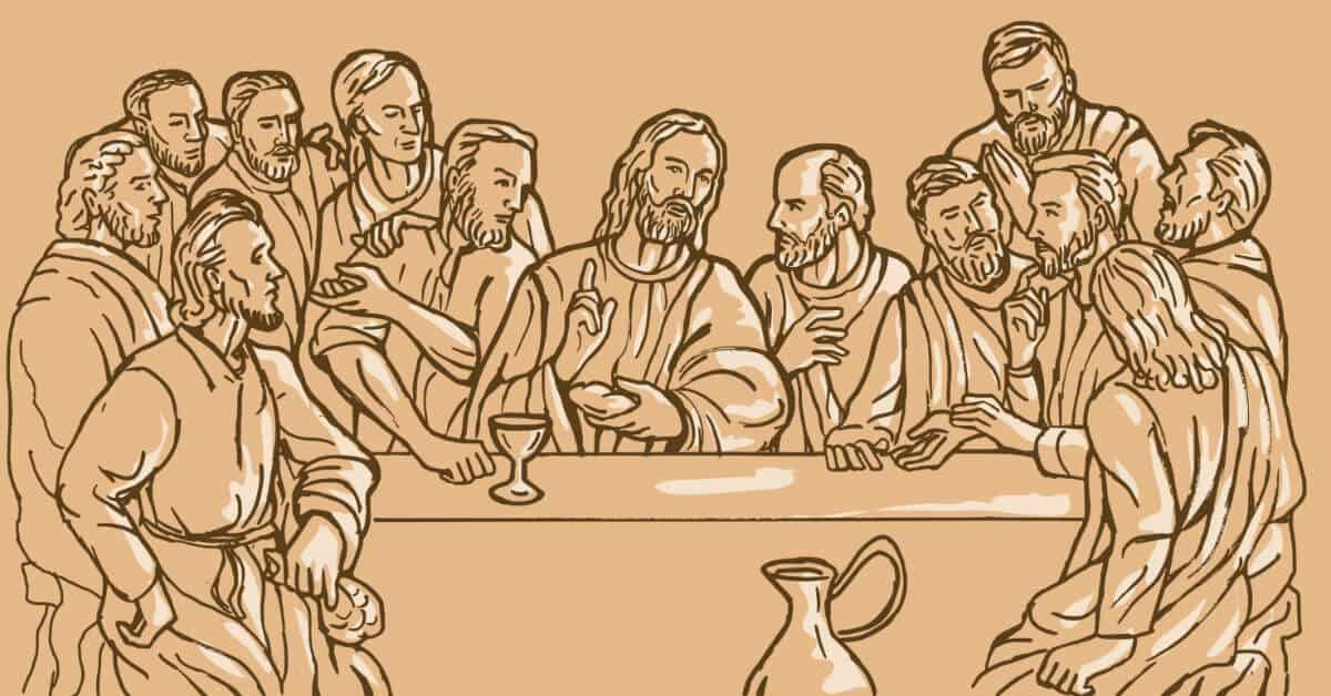 Image of a drawing of Jesus at the Last Supper with some of His Apostles.