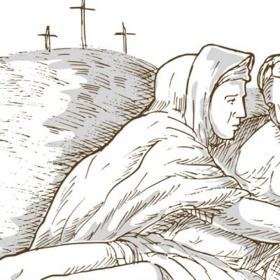 Hail Holy Queen is a beautiful prayer wherein we recognize Mary as our Queen. We beg her mercy, for her prayers for us for our salvation. Image of a drawing of tThree crosses in the background with Mary in the foreground holding Jesus after He died.