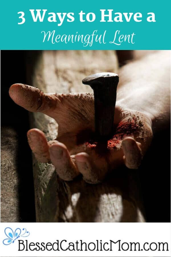 Image of a hand nailed to one part of the cross. #Lent #meaningfulLent