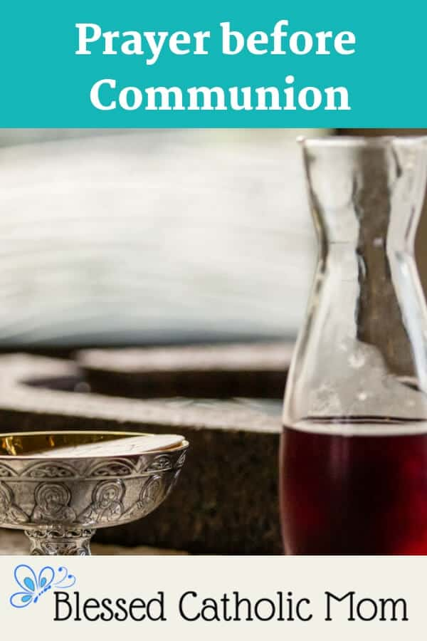Jesus gives Himself entirely to us in the Eucharist. We should prepare our hearts to receive Him by saying a prayer before Communion. Image of a carafe of wine and a ciborium with hosts. #prayerbeforeCommunion #Catholicprayer #Communion