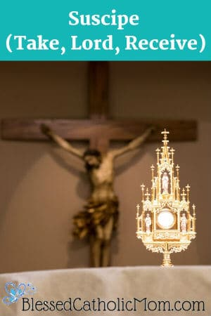 Image of an altar with a monstrance containing a host. In the background is a wooden crucifix: Jesus on the cross.
