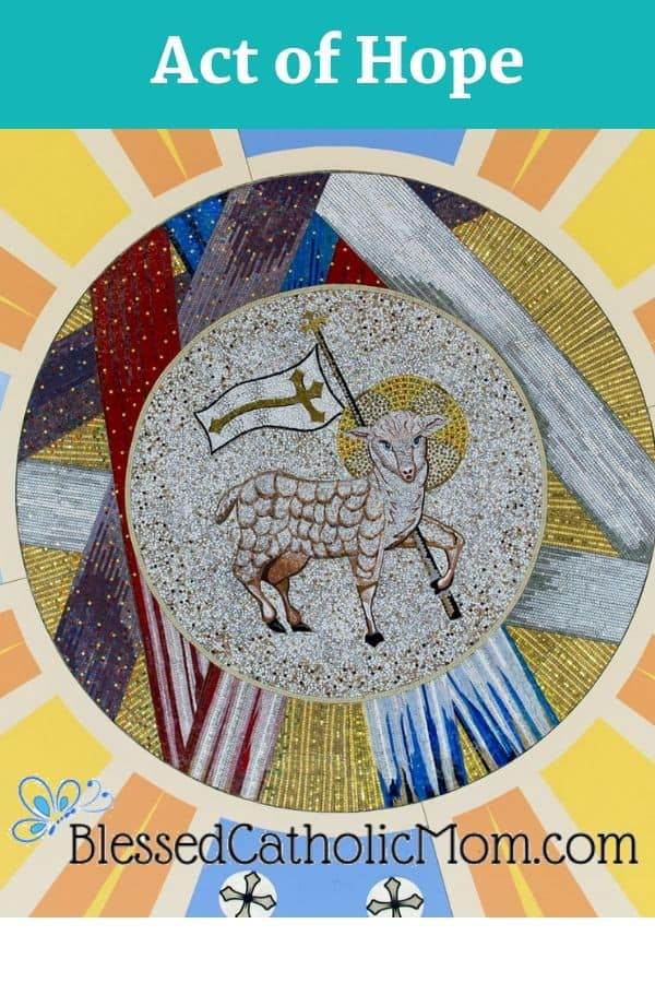 Image of the Lamb of God white a golden halo around His head carrying a white banner that has a cross on it.