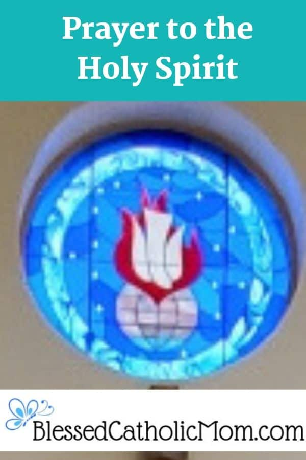 Image of a stained glass window of the Holy Spirit: a white dive pointing down towards the world with a red flame h=behind it.