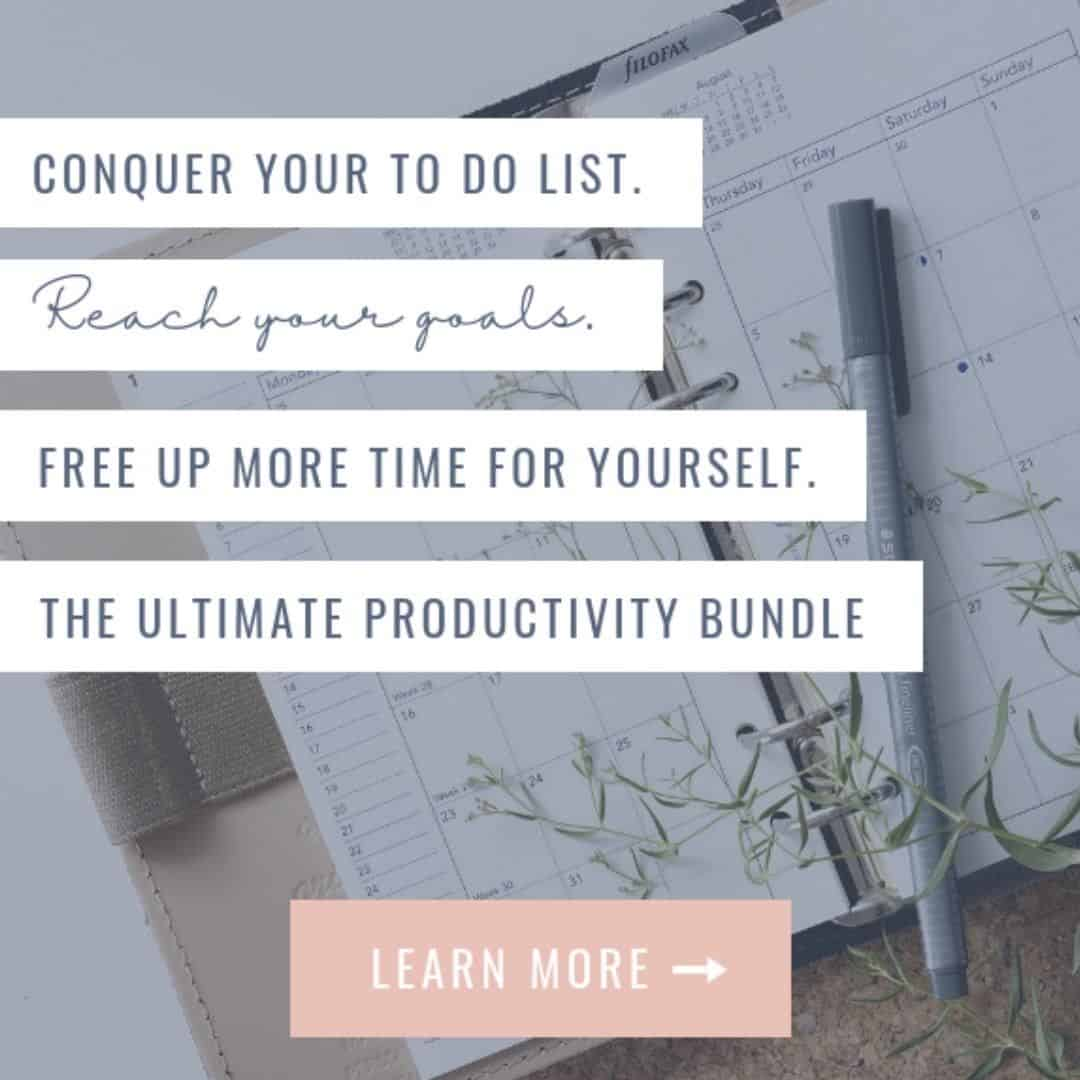 Image about the Productivity bundle about saving time and conquering your to do list.