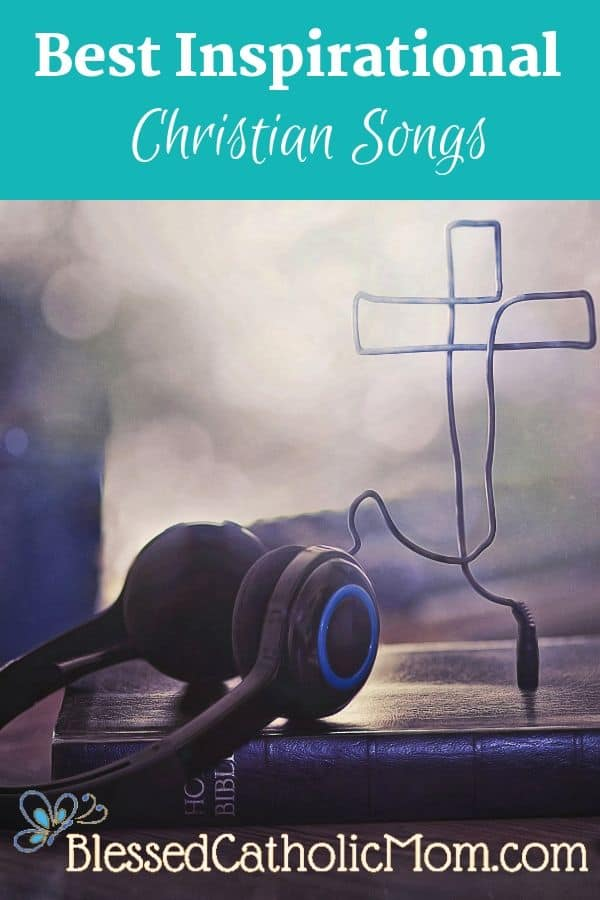 Image of a set of headphones plugged into a Bible. The cord of the headphones is in the shape of a cross.
