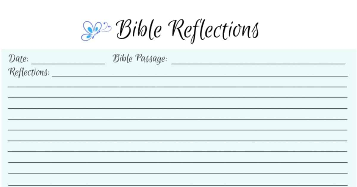 Image of a Bible Reflections seet from Blessed Catholic Mom