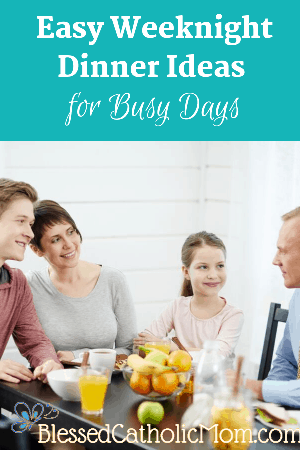 Image of a family sitting at the table sharing an easy weeknight dinner.