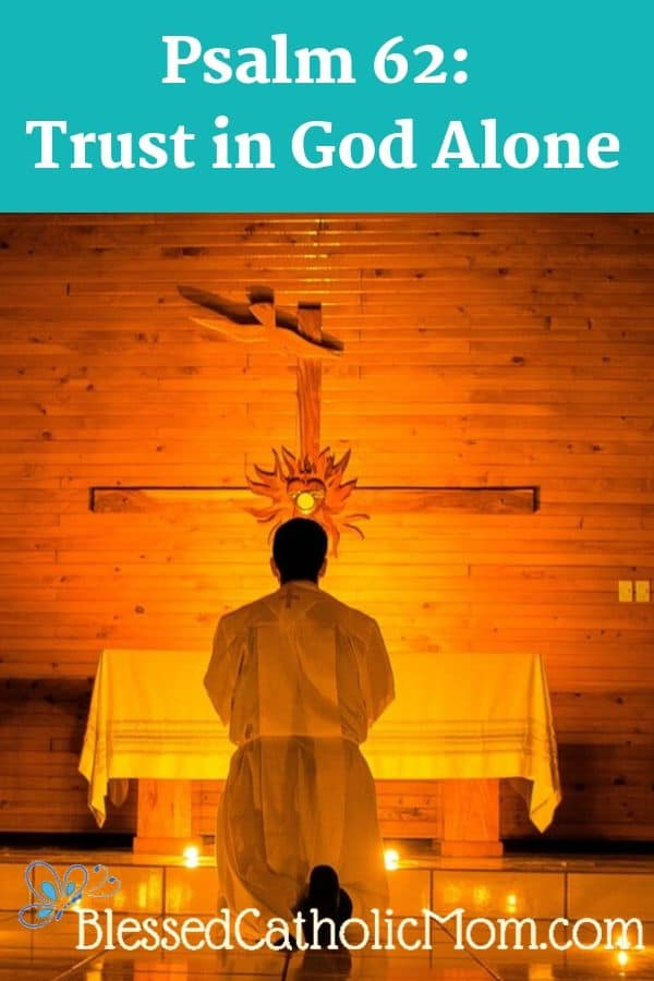 Image of a man in church kneeling in adoration before the Blessed Sacrament, which is held in a heart on a cross behind the altar..