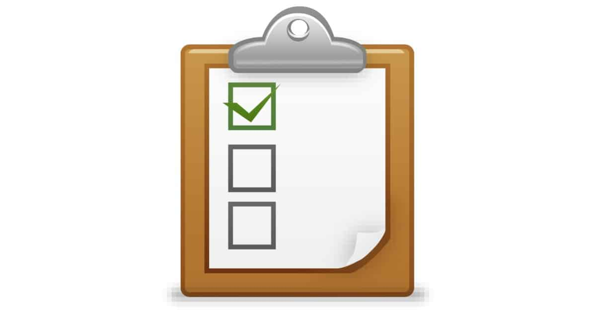 Image of a graphic of a clipboard with a paper on it that has three boxes, like a checklist. One of them is checked.