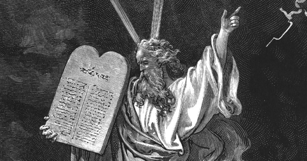 Image of a drawing of Moses holding the stone tablet containing the Ten Commandments.
