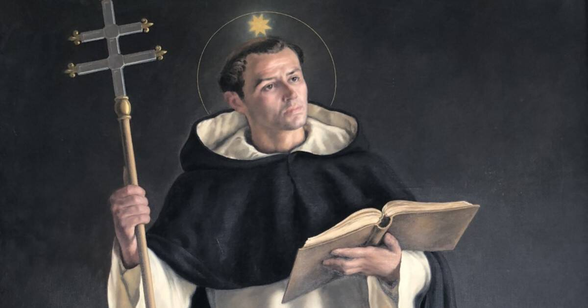 Image of Saint Thomas Aquinas wearing a religious habit and holding a cross in one hand and an open book in the other. There is a ball of light above and a halo of light around his head.