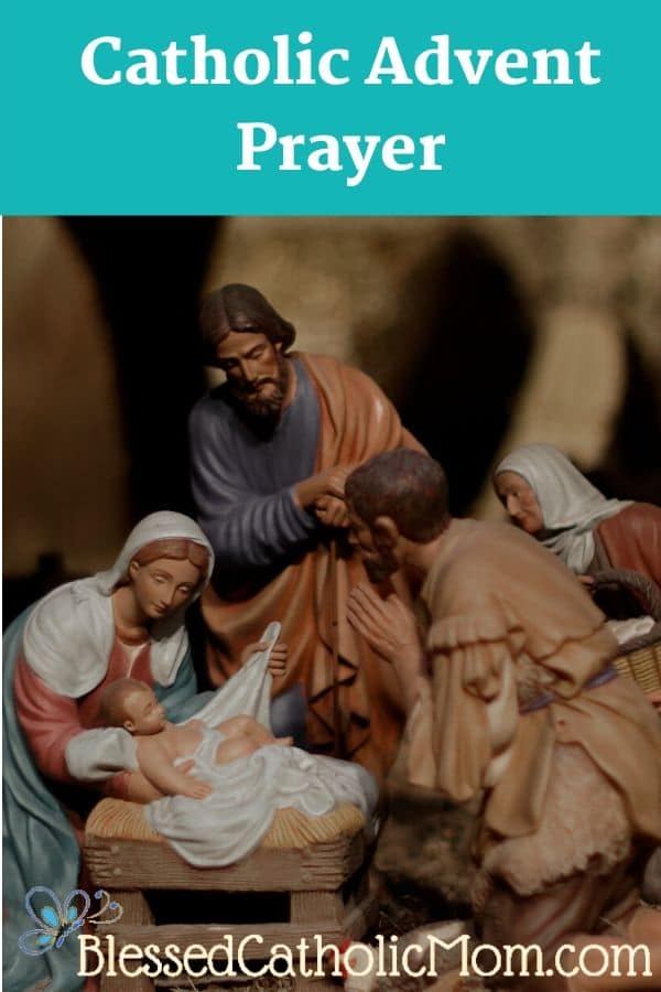 Image of figures in a nativity set. Our Lord, Jesus as an infant is surrounded by Mary, Joseph, and shepherds.