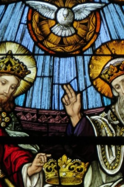 Image of the Blessed Trinity: Father, Son, and Holy Spirit-in Heaven crowning Mary as Queen of Heaven and earth.