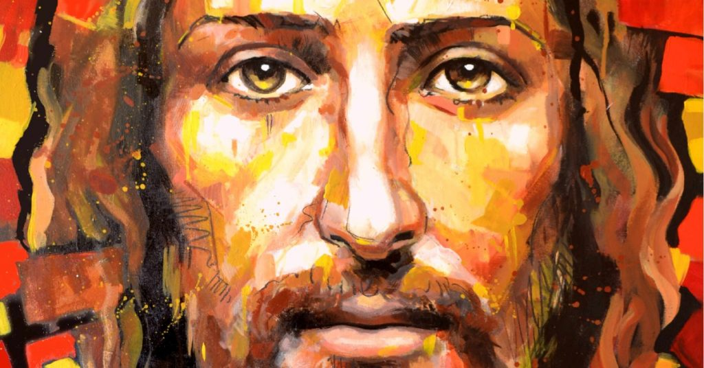 Image of a closeup of a painting of the face of Jesus.