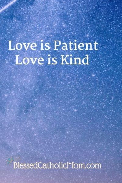 Image of a blue night sky wit stars that has the text Love is patient love is kind on it. At the bottom is the logo of a butterfly and the words Blessed Catholic Mom.
