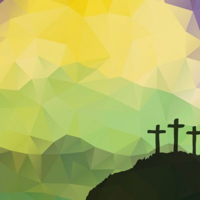 Graphic image of three crosses on Calvary. The view is from inside of a cave looking out to the crosses.