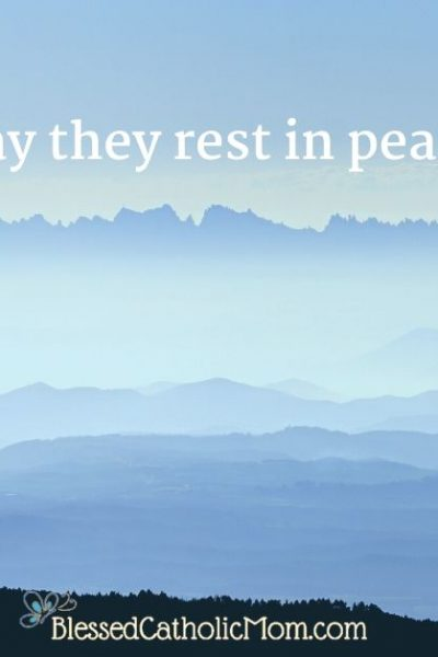 Image of a blue evening sky in the mountains. The words May they rest in peace are in the image.