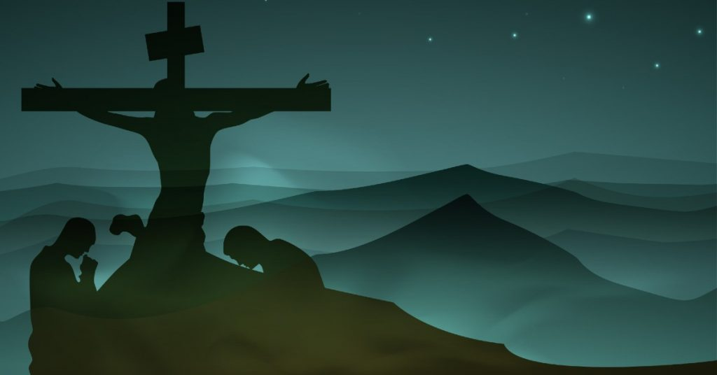 Graphic image of Jesus crucified with two people in profile bowing in prayer on either side of Him, facing towards Him.