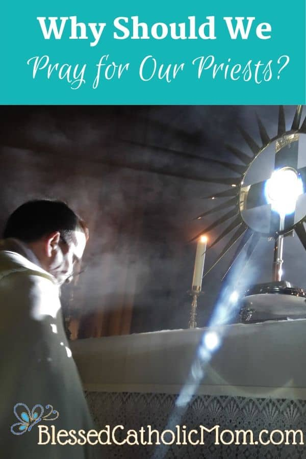 Image of a priest kneeling before the Blessed Sacrament in a monstrance on an altar which is in front of a window where the light is streaming in on the priest and in a ray of light beside him. The title Why Should We Pray for Our Priests? is across the top of the image.