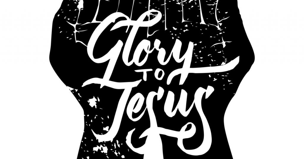 Image of a graphic of two open hands that are black side by side with the words Glory to Jesus written over them in calligraphy in white.