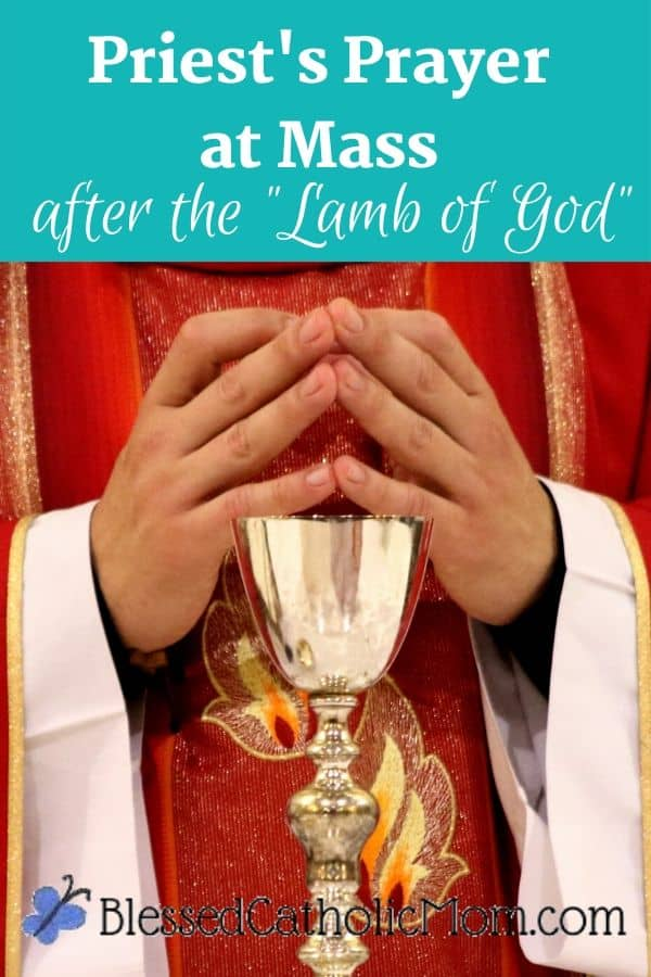 Image of a priest in red vestments with his hands together and fingers touching standing at the altar with a chalice in front of him. The words above the image read: priest's prayer after the Lamb of God