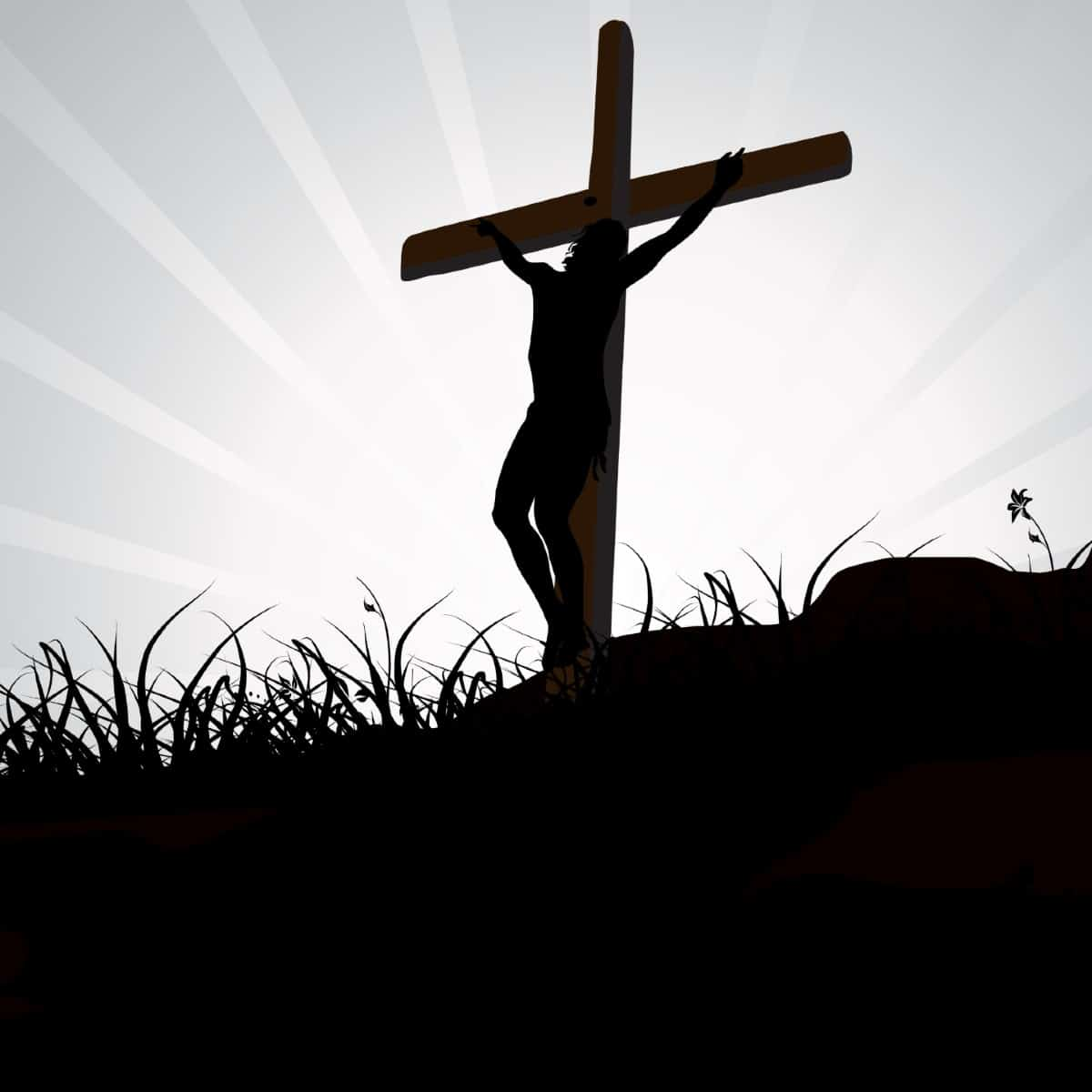 Graphic black and white image of Jesus on the cross. He is in black on a white background.