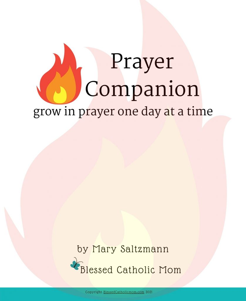 Image of th cover of the Prayer Companion: Grow in prayer one day at a time from Blessed Catholic Mom.