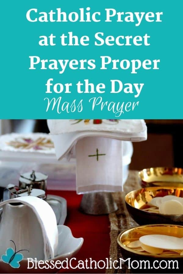 Image of three ciboriums filled with unconsecrated hosts, a covered chalice, and a pitcher in a bowl with a towel covering it. Words across the top of the image read: Catholic Prayer at the Secret Prayers Proper for the Day