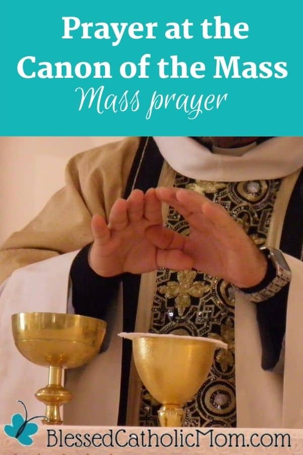 Image of a priest at the altar during Mass with his hands above the chalice and paten. Words above the image read: Prayer at the Canon of the Mass Mass Prayer