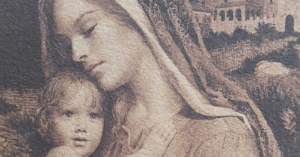 Image of a black and white drawing of the infant Jesus held lovingly by His Mother Mary.