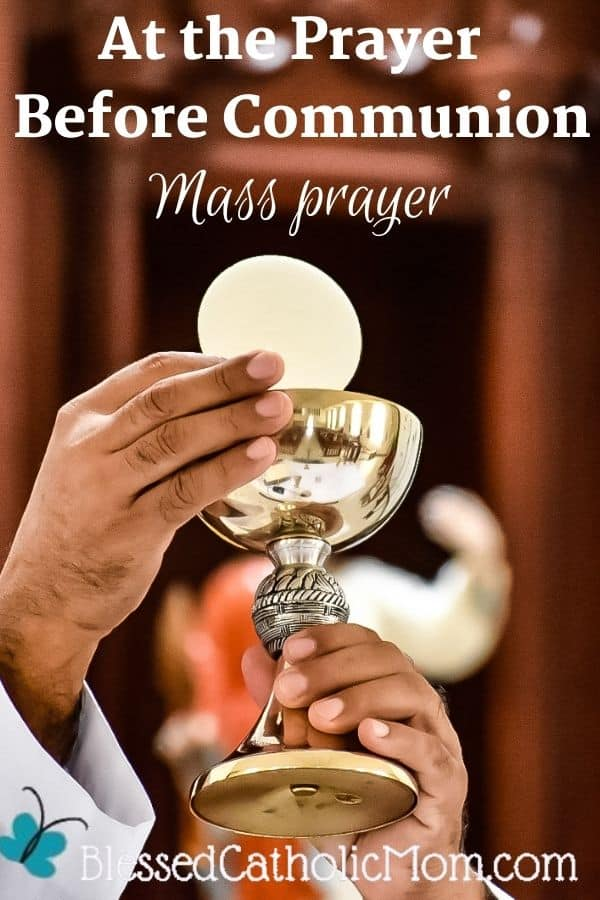 Image of a priest hands holding up the consecrated bread and wine at Mass-the Body and Blood of our Lord Jesus Christ. Words above the image read: At the Prayer Before Communion Mass Prayer