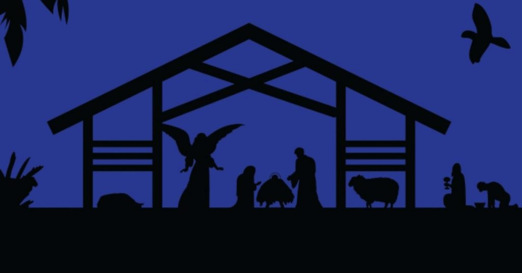 Image in Black and blue of the dark blue night sky behind an outline in black of the manger scene: Jesus in the manger flanked by Mary and Joseph with an angel standing by Mary.