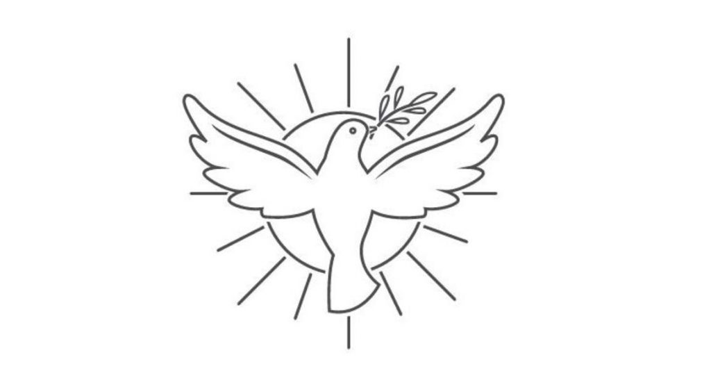 Image of a drawing of a dove with an olive branch in its beak and wings outstretched in front of a round sun wiht rays extending out from it.