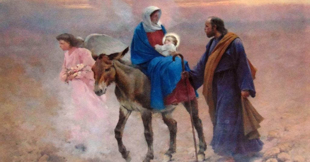Image of the Holy family surrounded by angels traveling to Egypt.