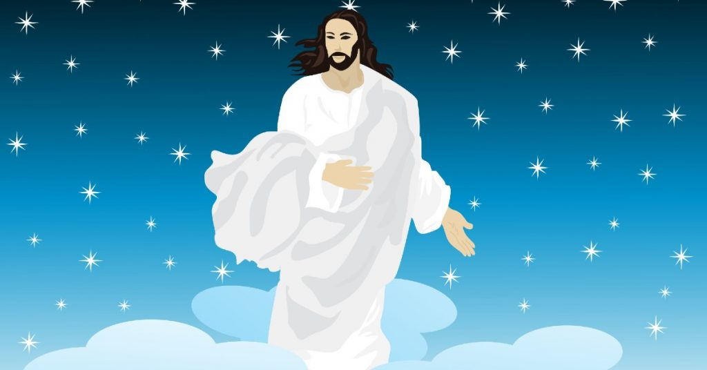 Image of a graphic design picture of Jesus in a flowing white and gray garment standing in the blue starred sky amid white clouds.
