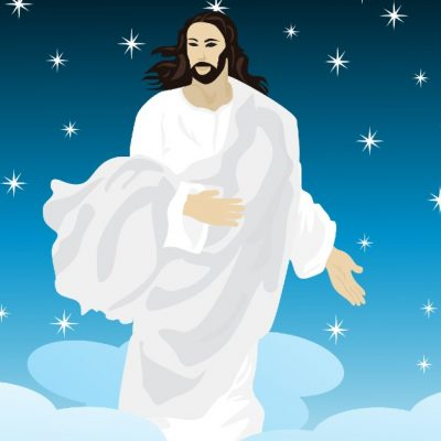 Image of a graphic design picture of Jesus in a flowly white and gray garment standing in the blue starred sky amid white clouds.